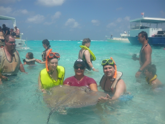 We went to the stingray sandbar. I touched the stingray, and shortly thereafter freaked out. Tony had to quickly get me back to the boat before I had a panic attack.