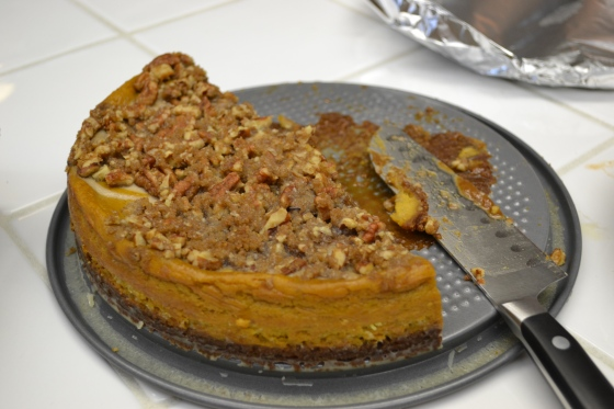 Half eaten pumpkin cheesecake
